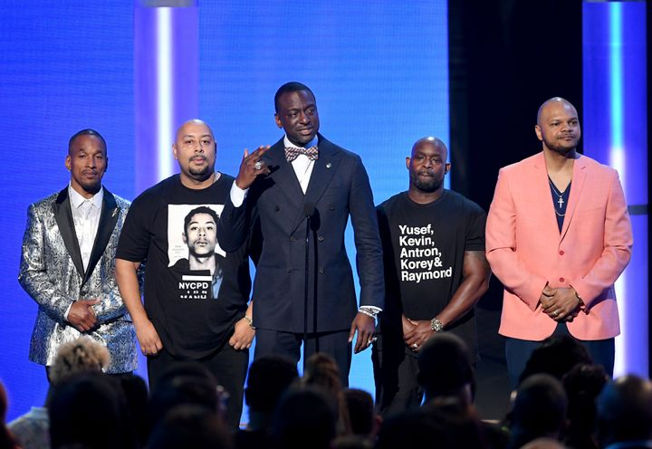 Yusef Salaam speaks, surrounded by (from left) Korey Wise, Raymond Santana Jr., Antron McCray and Kevin Richardson at the BET