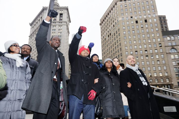 Yusef Salaam, left, with Kevin Richardson and Raymond Santana at a rally with supporters in New York, after a hearing in
