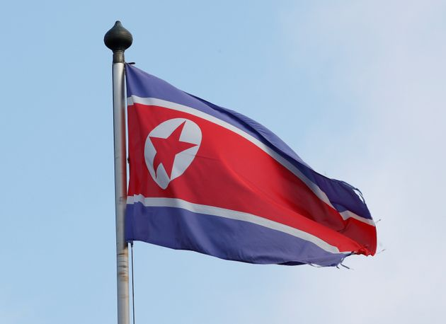 A flag is pictured outside the Permanent Mission of North Korea in Geneva, Switzerland, November 17,...