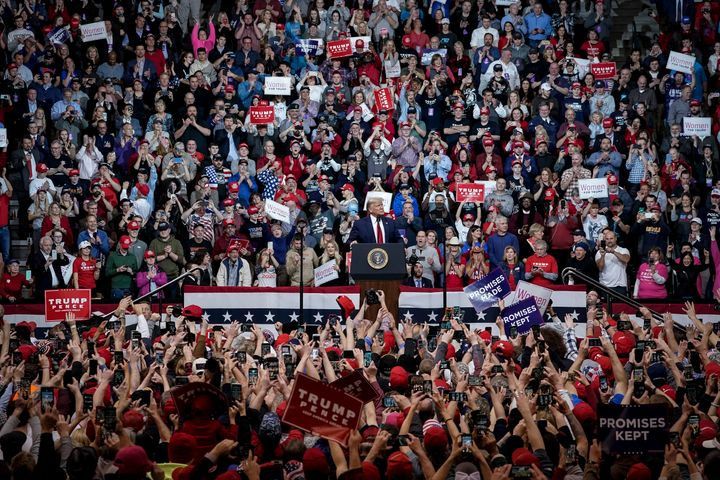 As has become the norm, an enthusiastic crowd greeted President Donald Trump as he arrived for a
