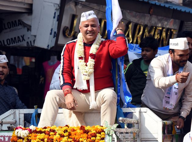 Delhi Deputy CM Manish Sisodia while on an election campaigning roadshow, at Sabzi Mandi Mandawali on...