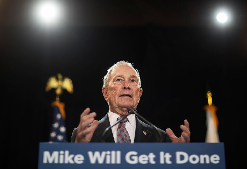 Democratic presidential candidate and former New York City Mayor Michael Bloomberg speaks at a campaign...
