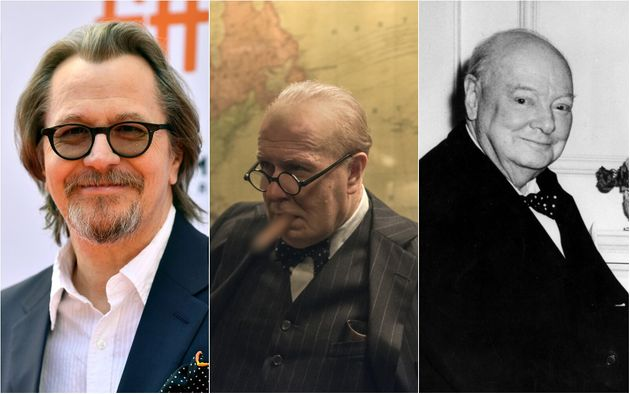 (왼쪽부터) 게리 올드먼, 처칠로 분한 영화 속 올드먼, 윈스턴