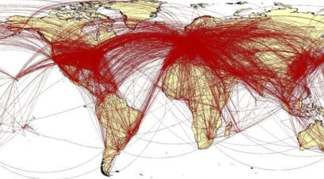A prediction of the spread of the virus, calculated by Southampton University's World Pop Project research group using data from Chinese tech giant Baidu.