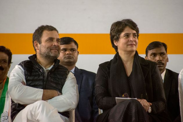 Rahul Gandhi and Priyanka Gandhi during a rally on February 5, 2020 in
