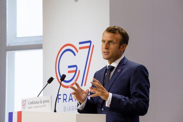 Emmanuel Macron lors du sommet du G7 à Biarritz le 26