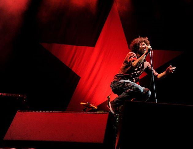 Le chanteur Zack de la Rocha de Rage Against the Machine, le 30 juillet 2011 à Los