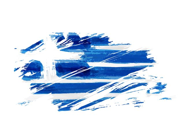 Abstract grunge brushed flag of Greece. Template for national holiday background, banner, poster,