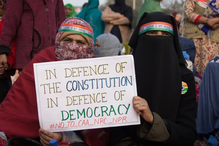 Students of Jamia Millia Islamia at the sit-in protest in Shaheen Bagh which became the epic centre of protests against CAA, in Delhi, on January 18, 2020.