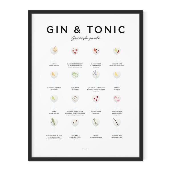 Gin And Tonic Garnish Guide Print, Trouva