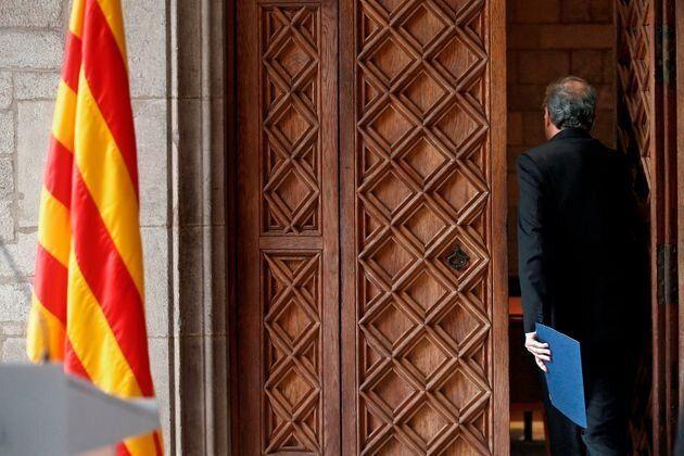El presidente catalán, Quim Torra, en el Palau de la Generalitat el 29 de
