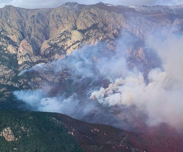 Une photo publiée le 5 février 2020 par les Sapeurs-Pompiers de Corse, montrant une vue...