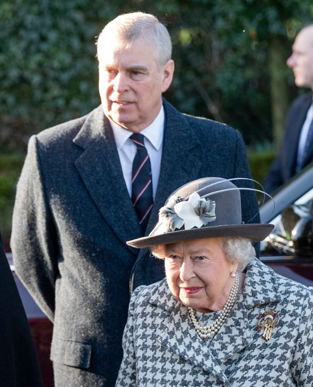Queen Elizabeth II and Prince Andrew attend church at Sandringham estate on Jan. 19, 2020, in King's...