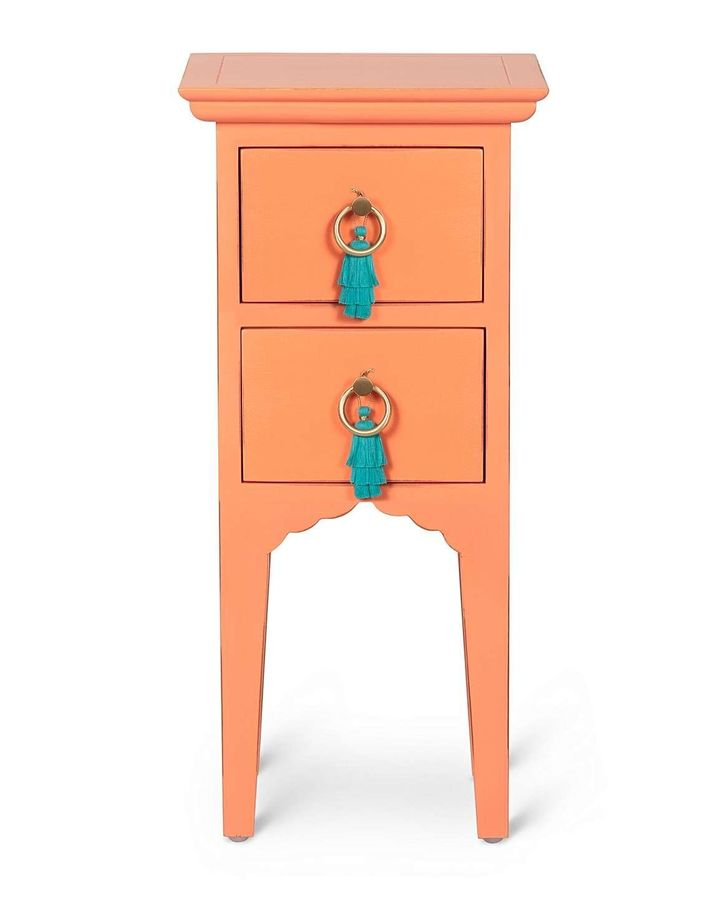 Iro Distressed Orange Tall Bedside Table, Oliver Bonas