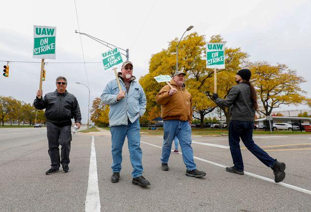 GM workers on strike in Warren, Michigan, last