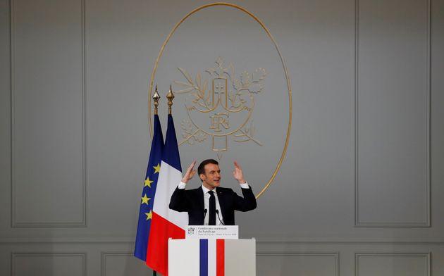 Emmanuel Macron lors de son discours sur le handicap à l'Elysée, mardi 11 février