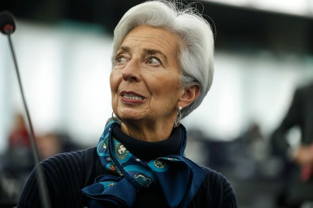 Christine Lagarde president of the ECB before making a speech during the annual report 2018 of the ECB,...