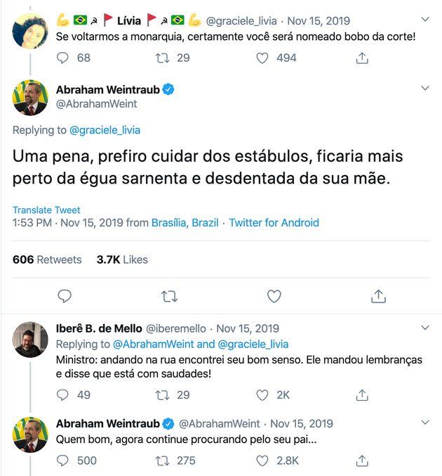 Contarato leu essas postagens do ministro no Twitter, durante sessão no