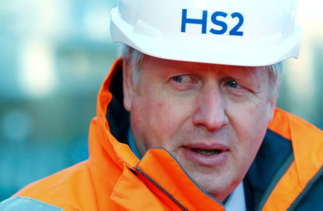 Boris Johnson looks on during a visit to Curzon Street railway station where the new High Speed 2 (HS2)...