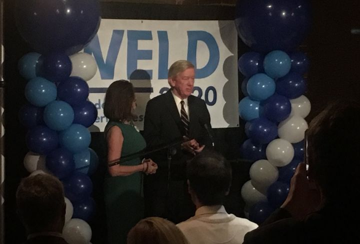 Former Massachusettes Gov. Bill Weld speaks to supporters following the New Hampshire primary on Tuesday. Weld is challenging