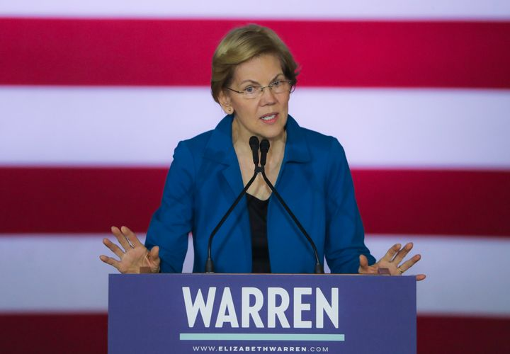 Sen. Elizabeth Warren (D-Mass.) addresses her supporters Tuesday in Manchester, New Hampshire. She sought to put a positive s