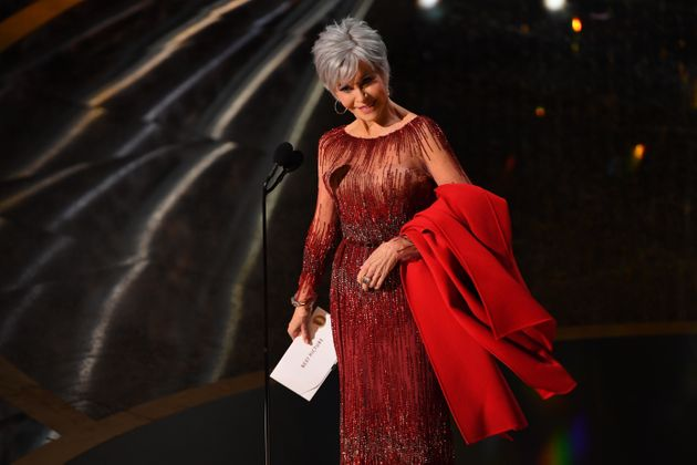Feb 9, 2020; Los Angeles, CA, USA; Jane Fonda presents the award for best motion picture of the year...