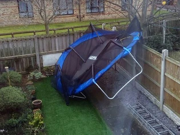 Storm Eleanor Springs Surprise On Rail Workers As Trampolines Blown On To