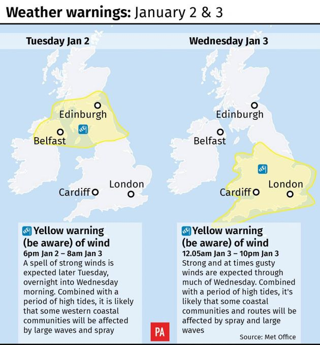 Weather Warnings Issued As UK Told To Prepare For Commuter Traffic