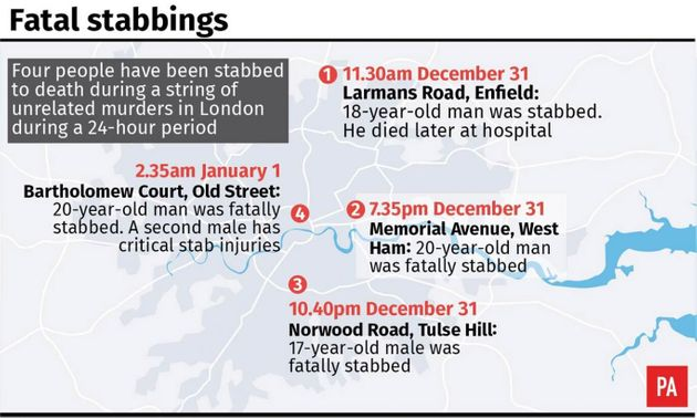 Four Stabbed To Death In London In 24-Hour