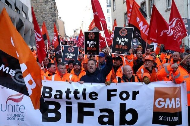 BiFab Workers March On Holyrood Amid Fight For