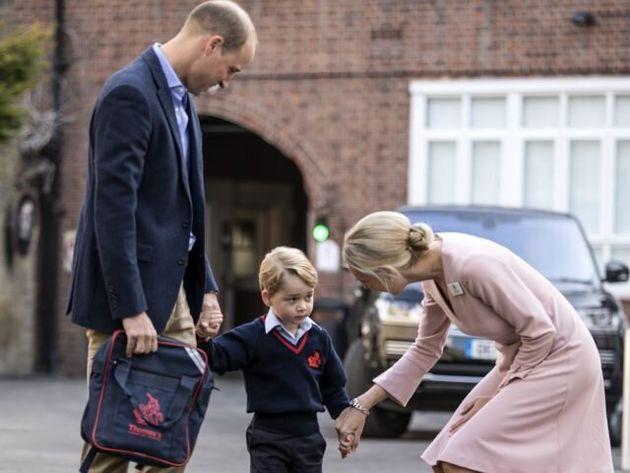 George Arrives For School With Woman Still In Custody Amid 'Break-In'
