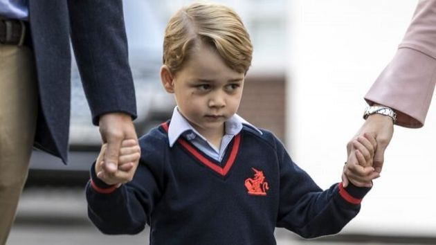 William Takes George For First Day At School As Too-Sick Kate Stays At