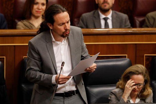 El vicepresidente segundo del Gobierno, Pablo Iglesias, durante la sesión de control en el