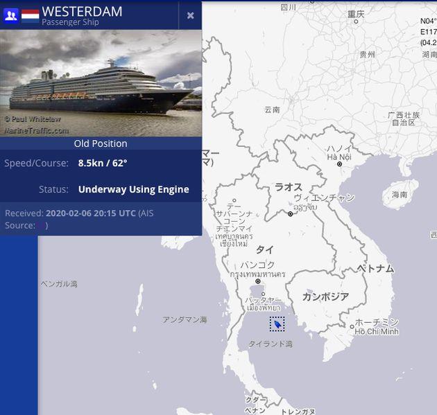 マリントラフィックが掲載したウエステルダム号の2月12日現在の位置