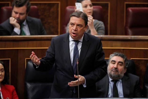 El ministro de Agricultura, Luis Planas (c) durante la sesión de control al