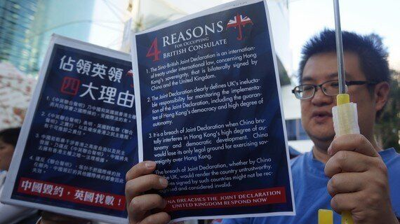 In Pictures: Hong Kong Democracy Activists Protest at the British