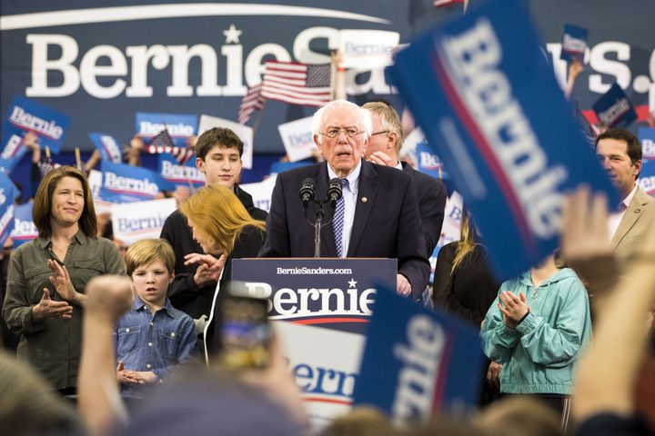 U.S. Sen. Bernie Sanders addresses the crowd during a rally in Manchester, N.H., on Tuesday. Sanders is solidifying himself as the front-runner in the Democratic race for president.
