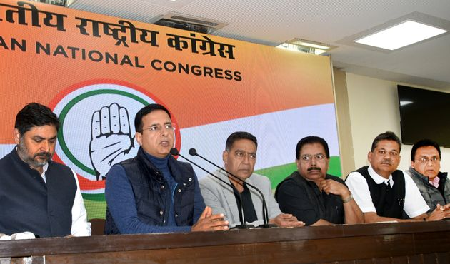 Congress spokesperson Randeep Singh Surjewala and other party leaders during a press conference after...