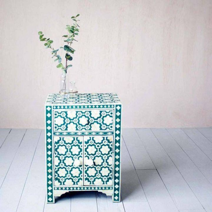 Bone Inlay Bedside Table Floral Green, Etsy