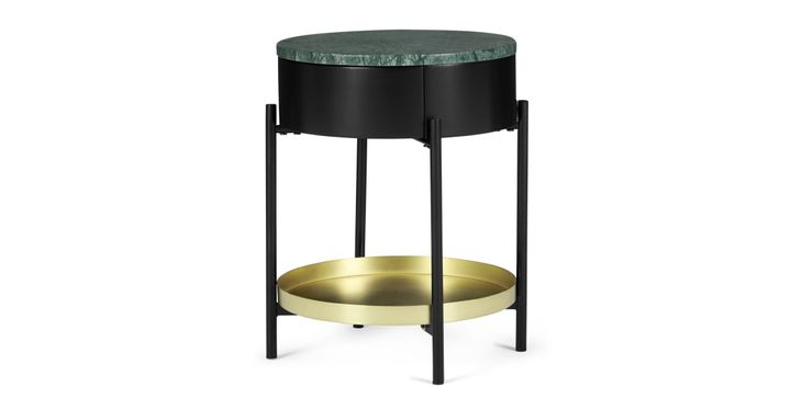 Masa Bedside Table, Marble & Brass, Made