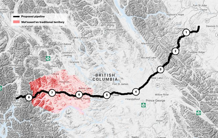 Planned construction phases along the proposed pipeline route and how it intersections with Wet'suwet'en territory.
