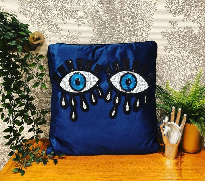 Quirky Navy Velvet Eye Cushion with Exposed Gold Zip, Etsy