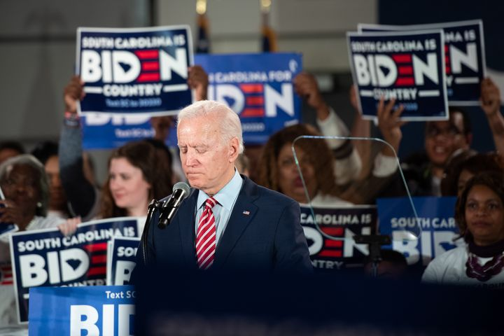 On the night of the 2020 New Hampshire primary, Joe Biden campaigns in South Carolina, where he is making his last stand.