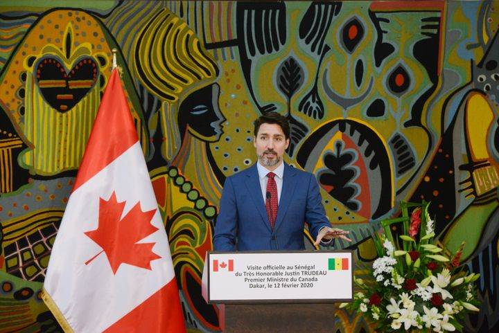 Prime Minister Justin Trudeau takes part in a joint press conference with President of Senegal Macky Sall at the Presidential Palace in Dakar on Feb. 12, 2020.
