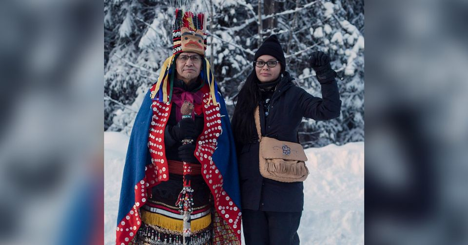 Wet'suwet'en hereditary chief Woos, who also goes by Frank Alec, and his daughter Eve Saint in the territory...