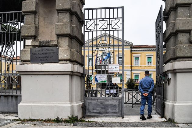 A general view shows the entrance of the Lazzaro Spallanzani National Institute for Infectious Diseases...