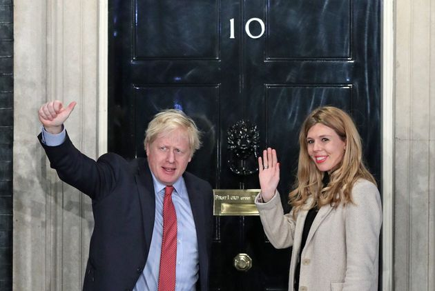 Boris Johnson and his girlfriend Carrie Symonds at Downing