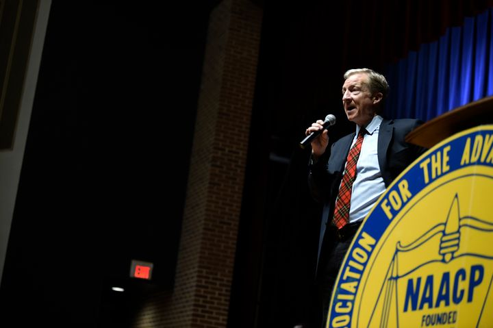 Democratic presidential hopeful Tom Steyer speaks, Sunday, Jan. 19, 2020, at an NAACP rally at South Carolina State Universit