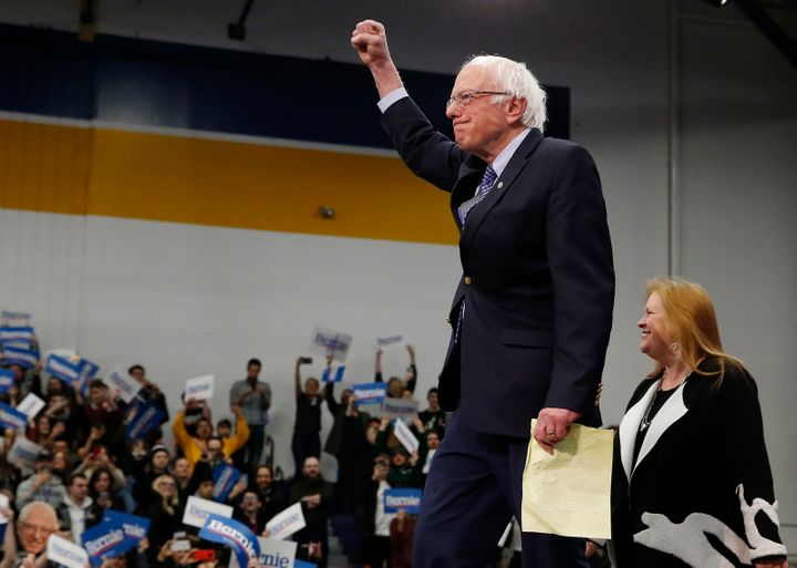 Sen. Bernie Sanders (I-Vt.) celebrates his New Hampshire primary win on Tuesday. A Nevada union's negative portrayal of his h