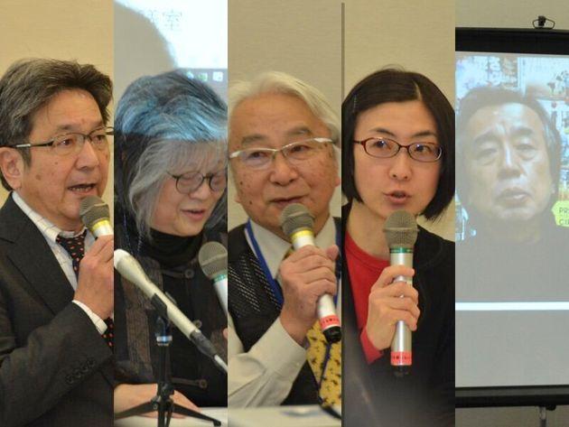 集会で発言する杉尾秀哉参院議員、中野麻美弁護士、ジャーナリスト・山田厚史さん、労働政策研究・研修機構の内藤忍さん、金平茂紀さん(左から。金平さんはビデオメッセージでの参加)
